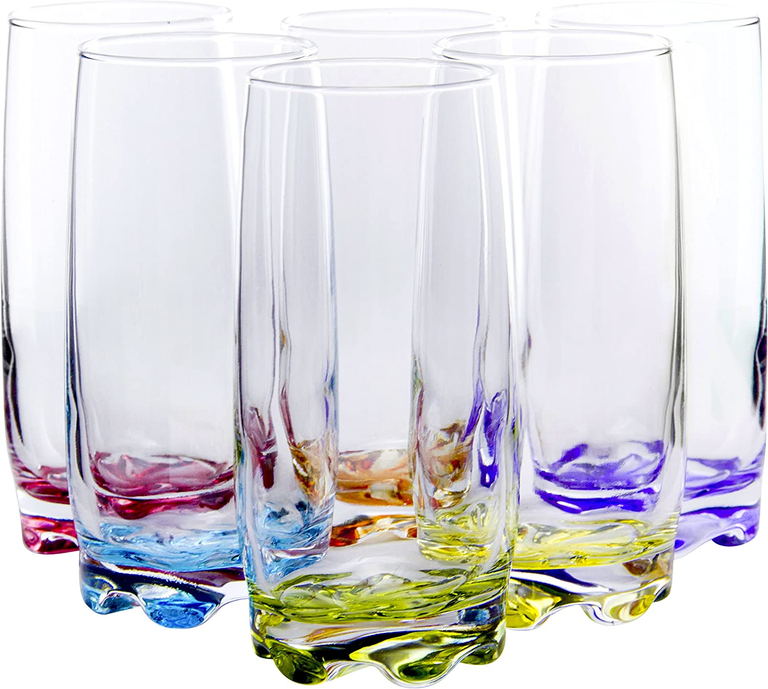 Vibrant Splash Water/Beverage Highball Glasses, 13.25 Ounce - Set of 6