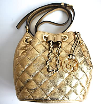 898ab905d91b Michael Kors Frankie Quilted Metallic Gold Leather Drawstring Chain Small  Crossbody Bag: Handbags: Amazon.com