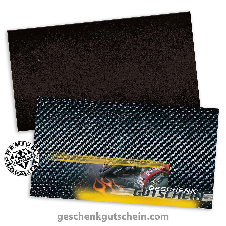 50 Stk. Premium Geschenkgutscheine Gutscheine zum Falten MultiFarbe  + 50 Stk. KuGrüns für Motorsport, Motorrad, Bike SP219, LIEFERZEIT 2 bis 4 Werktage