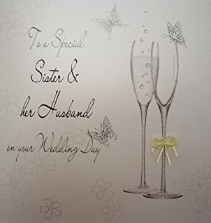 White Cotton Cards X Large To A Sister And Her Husband On Your Wedding Day