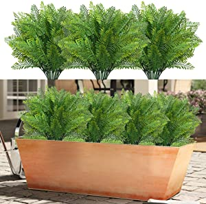 RED SECRET R Artificial Plant Outdoor Boston Fern 10Pcs UV Resistant Faux Greenery Indoor Decoration for Office Kitchen Living Room Party Balcony Front Porch Window Box Arrangements