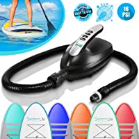 Digital Electric Air Pump Compressor - 110W 12 Volt Quick Air Inflator w/LCD, 0-16 Adjustable PSI - For Water Sport Inflatable SUP Stand Up Paddle Board - SereneLife SLPUMP20