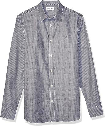 Calvin Klein Camisa Extra Fina de algodón con Botones para Hombre - Negro - Large: Amazon.es: Ropa y accesorios