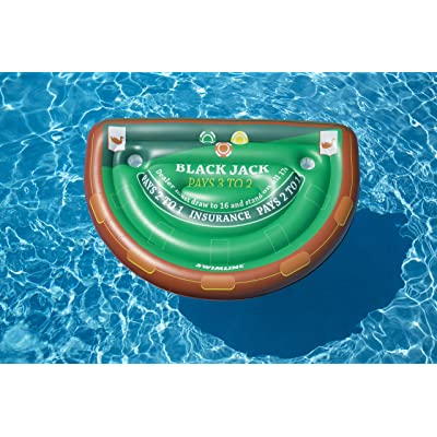 Swimline Blackjack Table Game with Waterproof Cards Pool Inflatable Ride-On, Green: Toys & Games