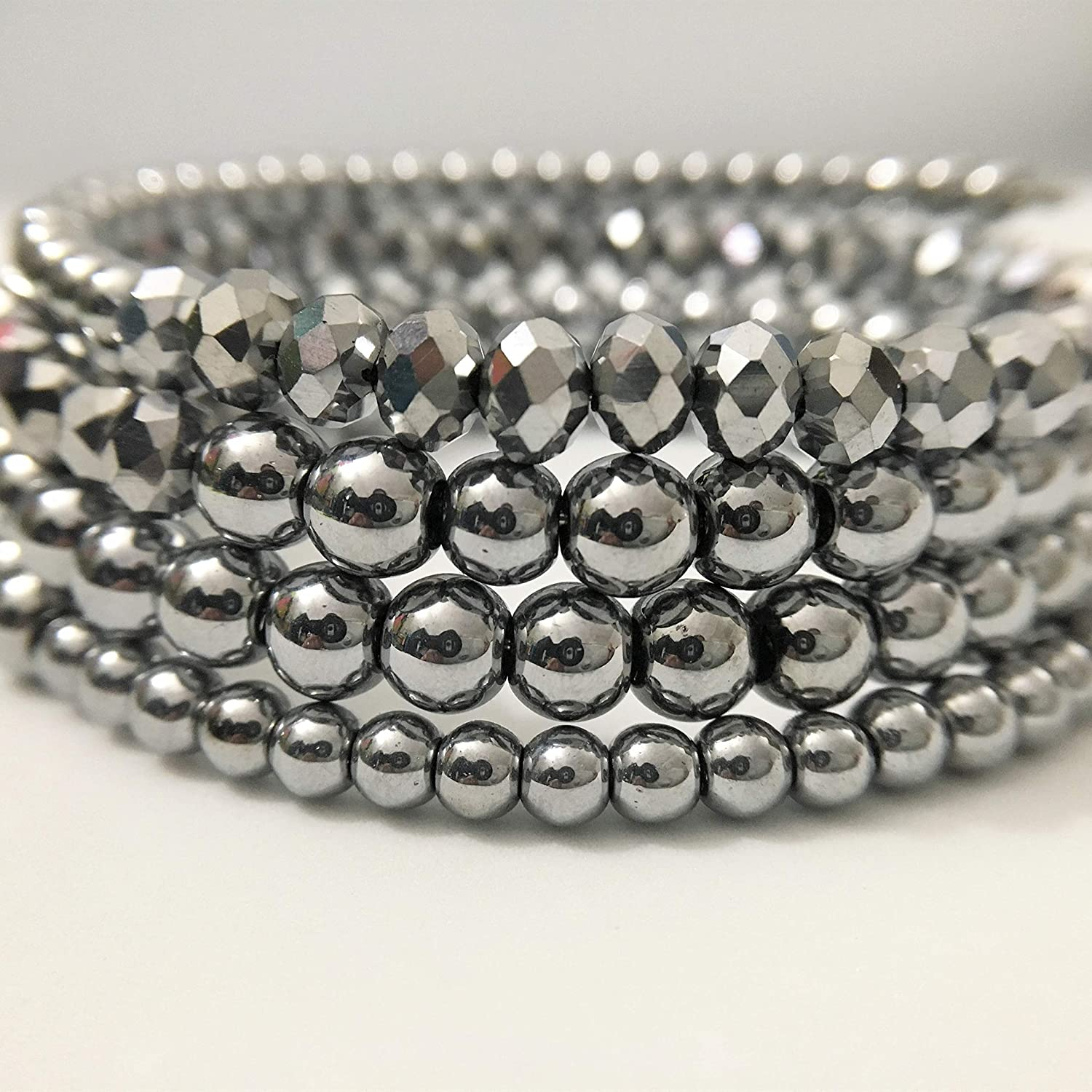 Silver Tone Simulated Pearl Wrap Bracelet Beaded Memory Wire Bangle For Woman