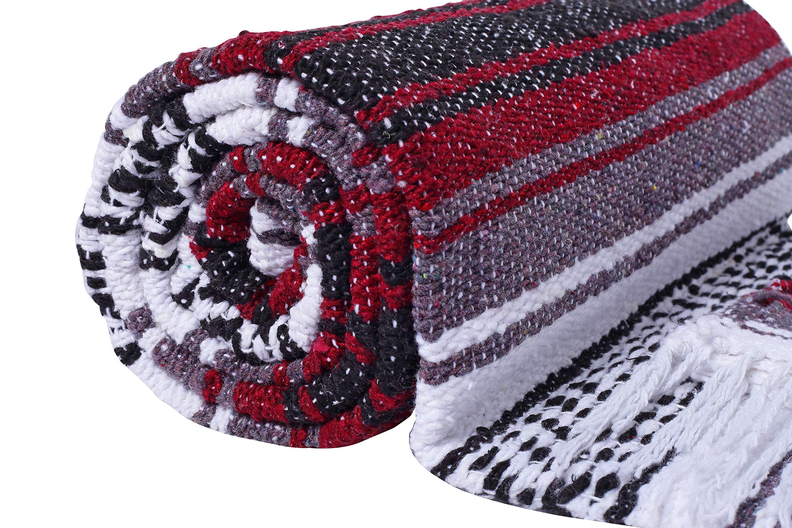 El Paso Designs Genuine Mexican Falsa Blanket - Yoga Studio Blanket, Colorful, Soft Woven Serape Imported from Mexico (Burgundy) by El Paso Designs (Image #6)