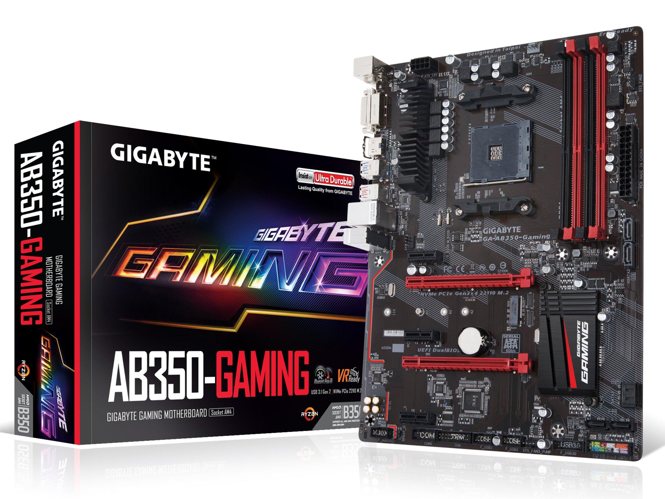 GIGABYTE GA-AB350-Gaming AMD RYZEN AM4 B350 SMART FAN 5 HDMI M.2 SATA USB 3.1 Type-A ATX DDR4 Motherboard