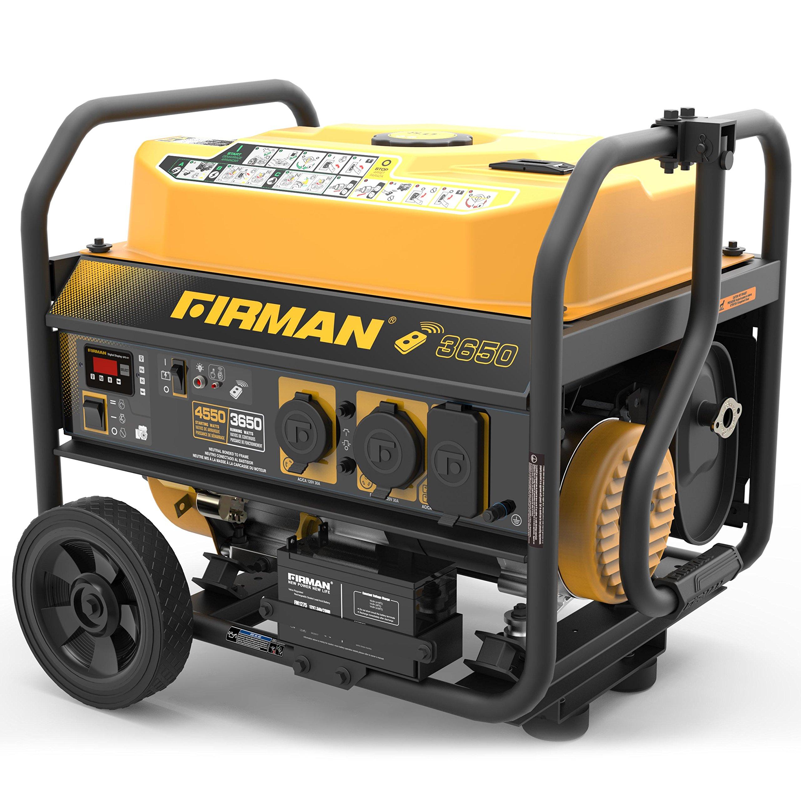 Firman P03608 4550/3650 Watt Remote Start Gas Portable Generator CARB Certified with Wheel Kit, Yellow by Firman