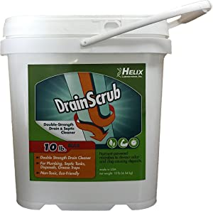 DrainScrub Powder Enzyme Drain Cleaner and Septic Treatment Environmentally Friendly Bacteria Unclog and Deodorize Pipes (10 lbs)