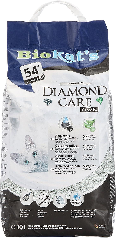 Biokat's Diamond Care Classic, arena para gatos – La arena aglomerante para gatos, de alta calidad, con carbón activo y aloe vera – 1 bolsa de papel (1 x 10 l)