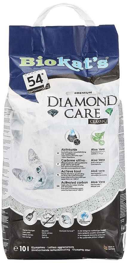 Biokats arena para gatos Diamond Care Classic , Arena para gatos aglutinante de gran calidad, con carbón activo y aloe vera , 1 bolsas de papel 10 l (1 x ...