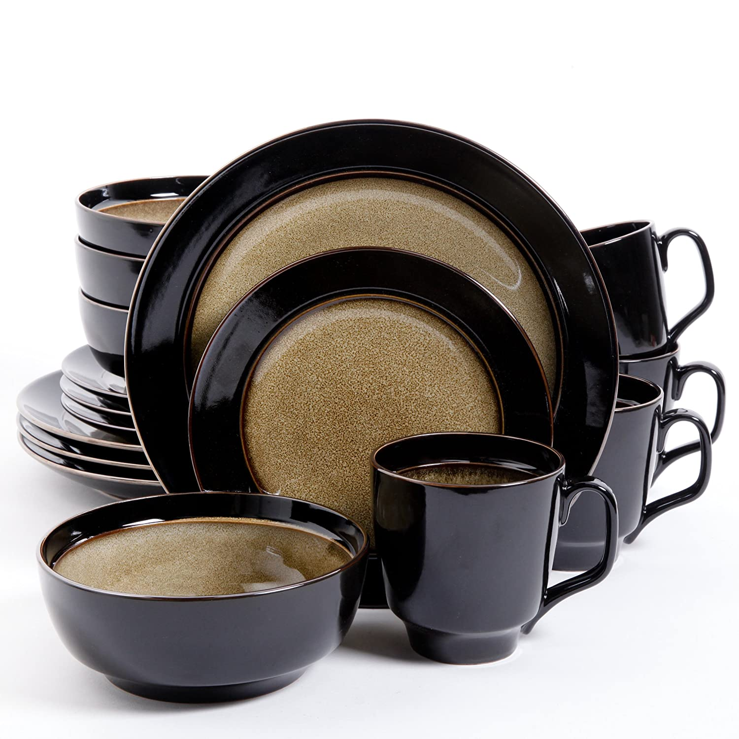 Amazon.com | Gibson Bella Galleria 16 Piece Dinnerware Set Taupe/Black Dinnerware Sets  sc 1 st  Amazon.com & Amazon.com | Gibson Bella Galleria 16 Piece Dinnerware Set Taupe ...