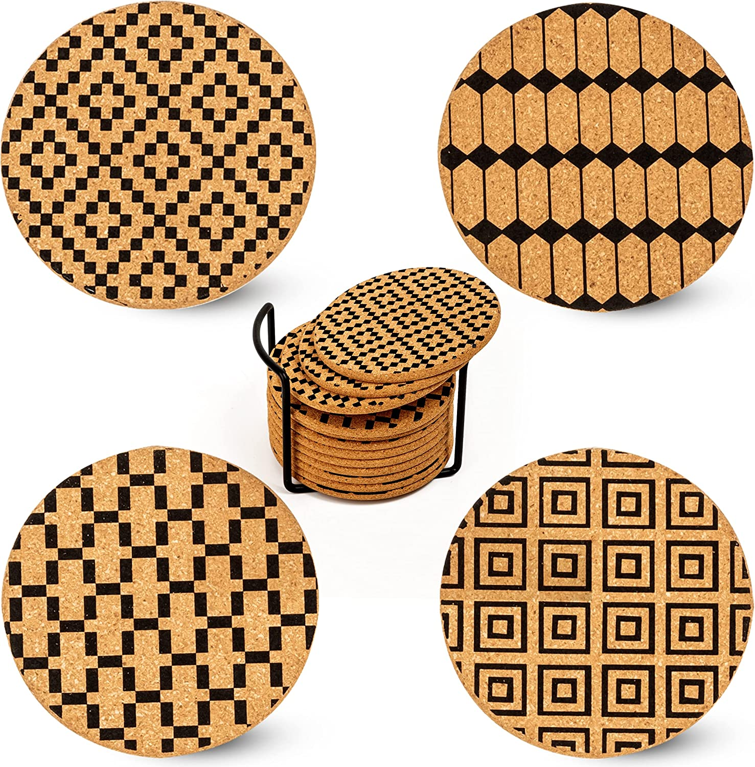 XEMARTO Coasters – 100% Natural Coasters for Drinks - Drink Coasters for Daily Use – Cork Coasters - Coasters for Wooden Table - Super Absorbent Coasters - Coaster Set for Gifts (Pack of 12)