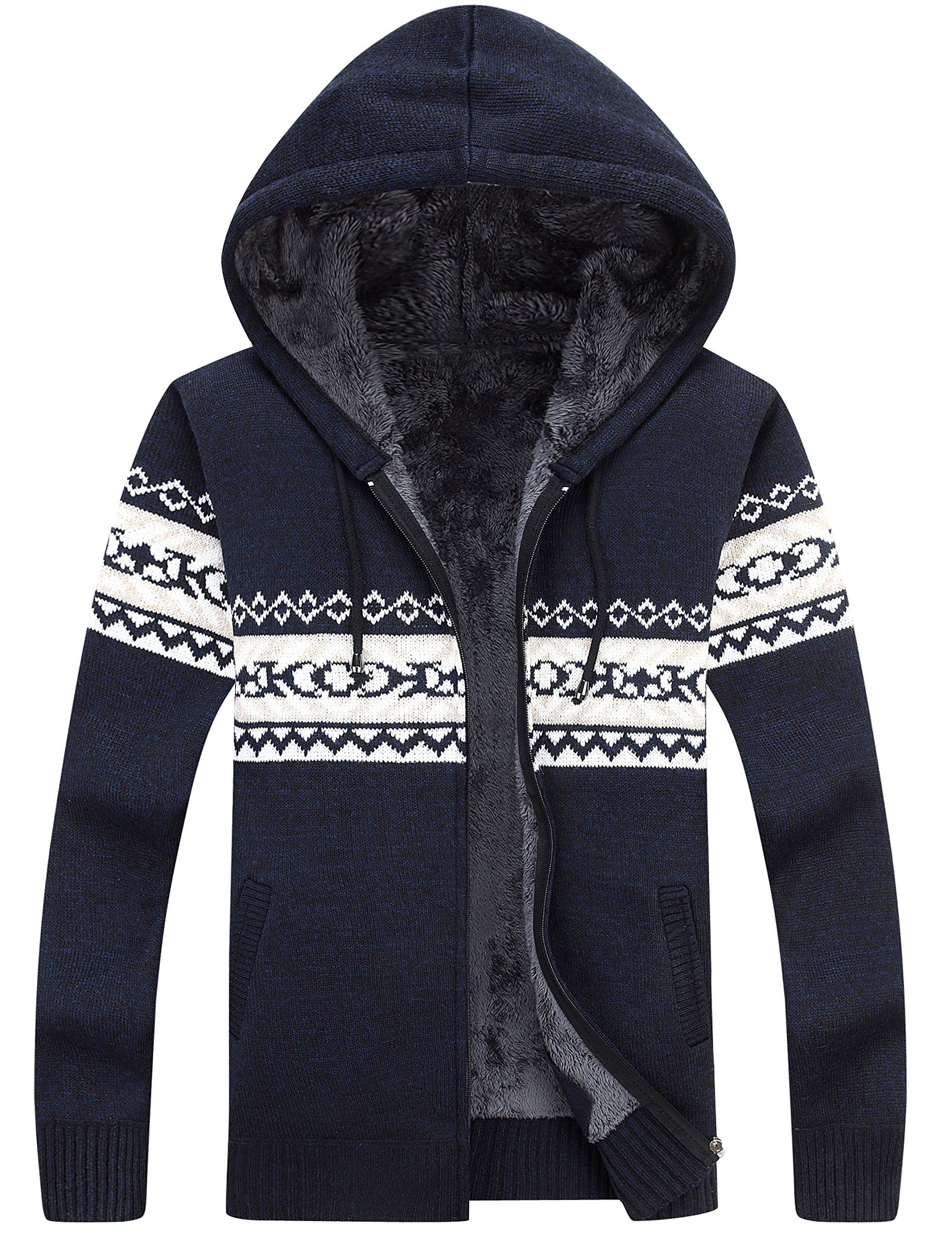 Lentta Men's Casual Slim Fit Full Zip up Sherpa Lined Hooded Cardigan Sweaters (Medium, Dark Blue)