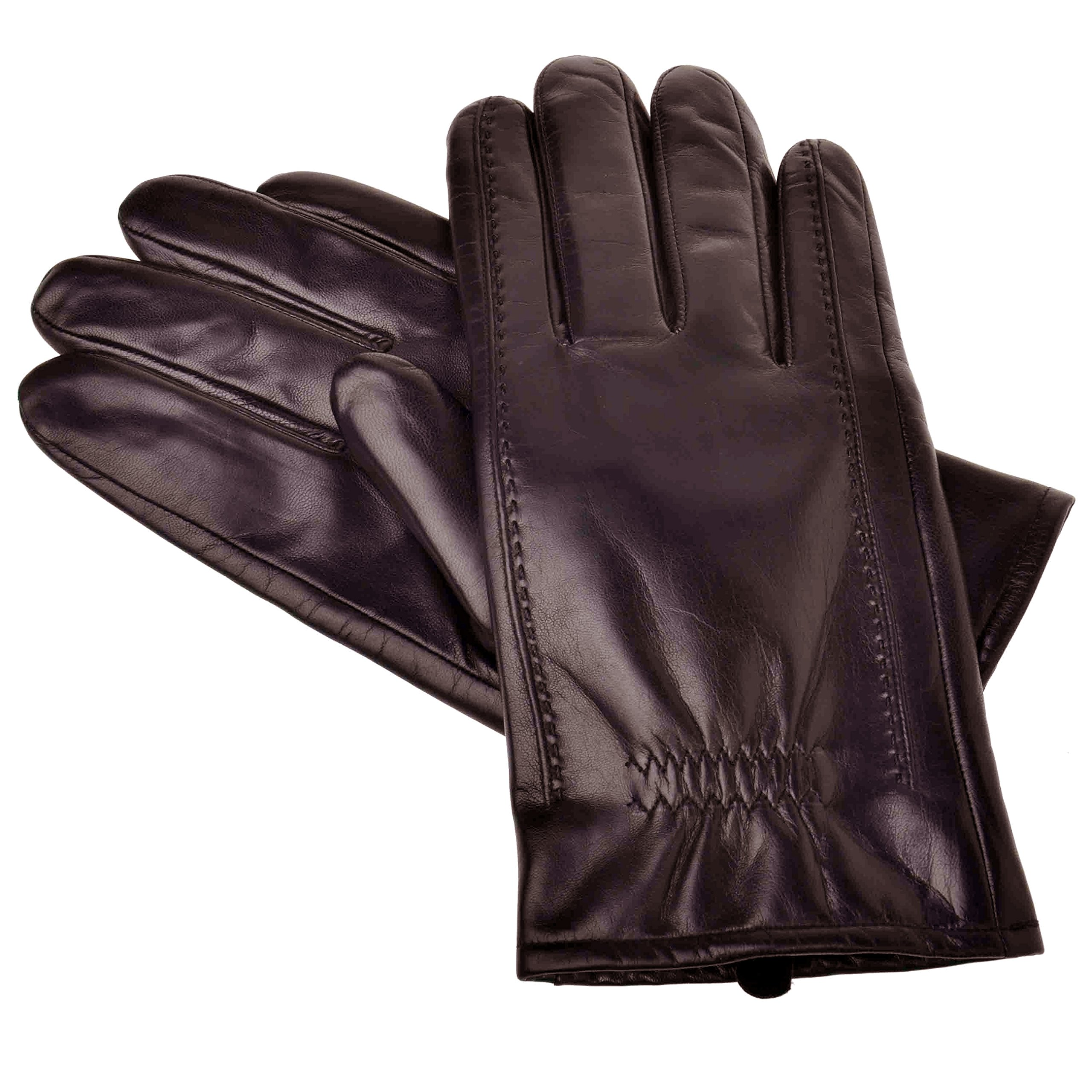 YISEVEN Men's Buttery-Soft Lambskin Leather Gloves Fleece Lined for Spring or Winter Hand Warm Fur Heated Lining Dress and Motorcycle Driving Real Luxury Stylish Holiday Xmas Gift, Brown 8.5''/Small