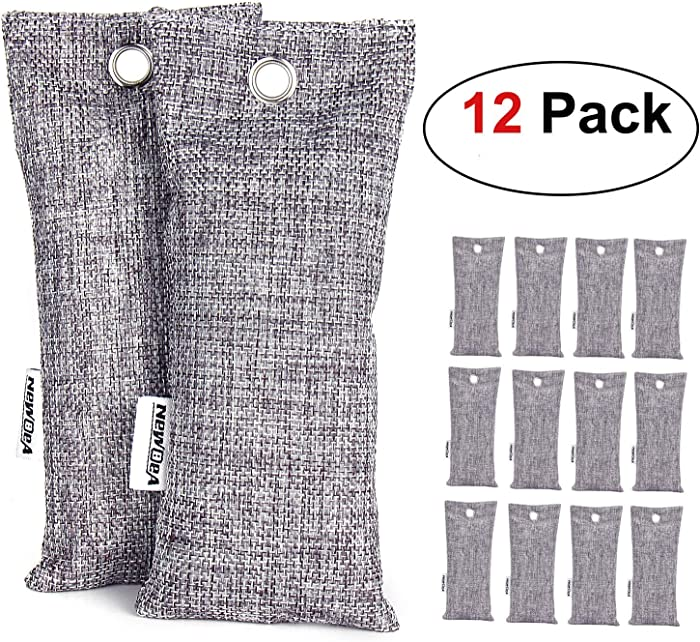 NEWBEA 12 Pack Charcoal Air Purifying Bag, Travel Size Shoe Deodorizer, Air Freshener, Odor Eliminator, Odor Absorber for Shoes, Home, Closet, Car