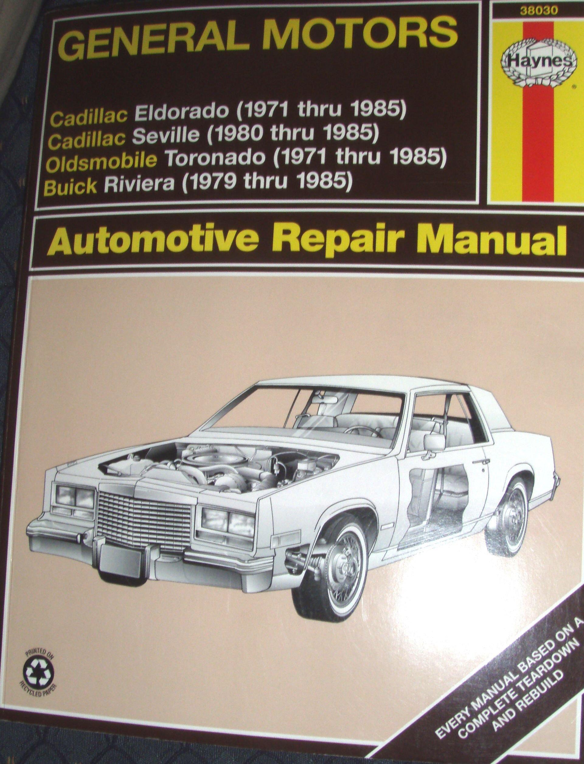 Haynes Eldorado Seville Toronado Riviera Automotive Repair Manual: Mike  Stubblefield, John H Haynes: 9781563922312: Amazon.com: Books