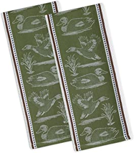 """DII Cotton Jacquard Dish Towels, 18x28"""" Set of 2, Decorative Oversized Kitchen Towels,Perfect Home and Kitchen Gift-Duck"""