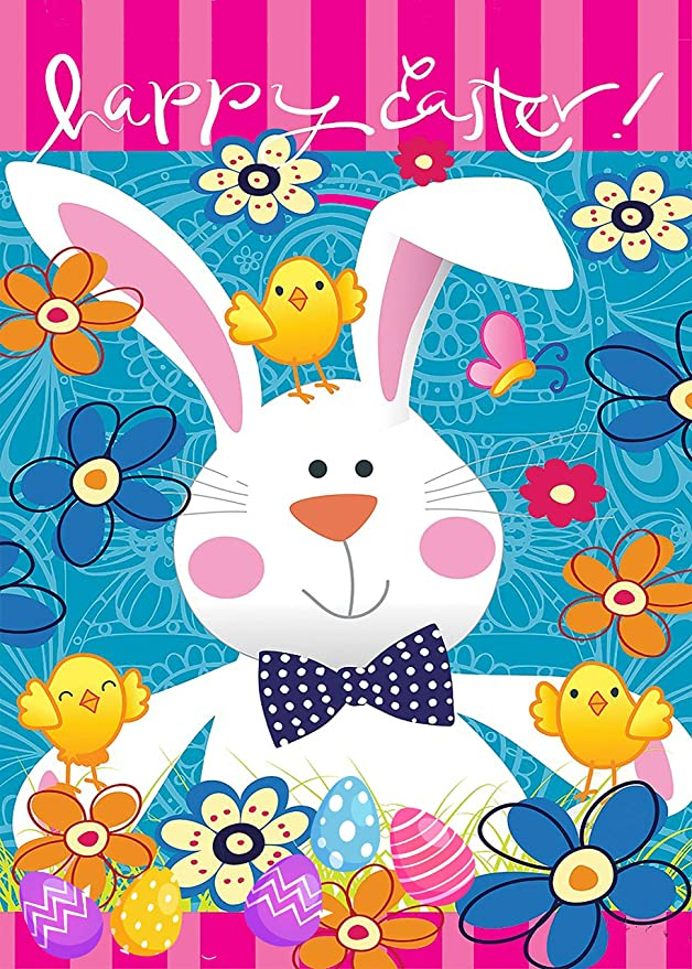 Spring Happy Easter Holiday Garden Yard Flag Banner House Home Decor 12 x 18 inch, Yellow Blue Floral Chick Small Mini Decorative Double Sided Welcome Flags for Holiday Wedding Party Outdoor Outside