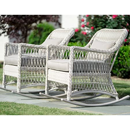 Leisure Made Pearson Outdoor Rocking Chairs, Antique White – 2 Pack