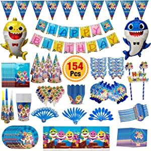 154 Pc Baby Shark Party Supplies- Shark Themed Birthday Decorations Includes Disposable Tableware Kit, Blowing Dragon Paper, Hats, Gift Bag and Banner, Blowouts, Balloon, Cake Toppers & Pennant for Baby Shark Party Favor