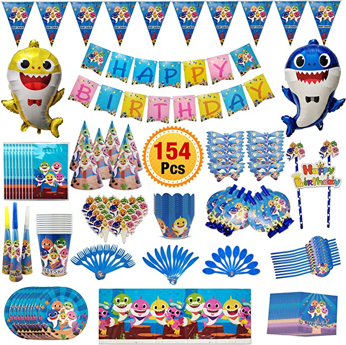 Baby Shark Balloons Baby Cute Shark Party Supplies Foil Balloons for Baby 7 pcs