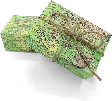 Caja de caramelos de papel kraft vintage alrededor del mundo con diseño de mapamundi, cajas de regalo para bodas, fiestas, suministros para viajes temáticos, 50 unidades: Amazon.es: Juguetes y juegos