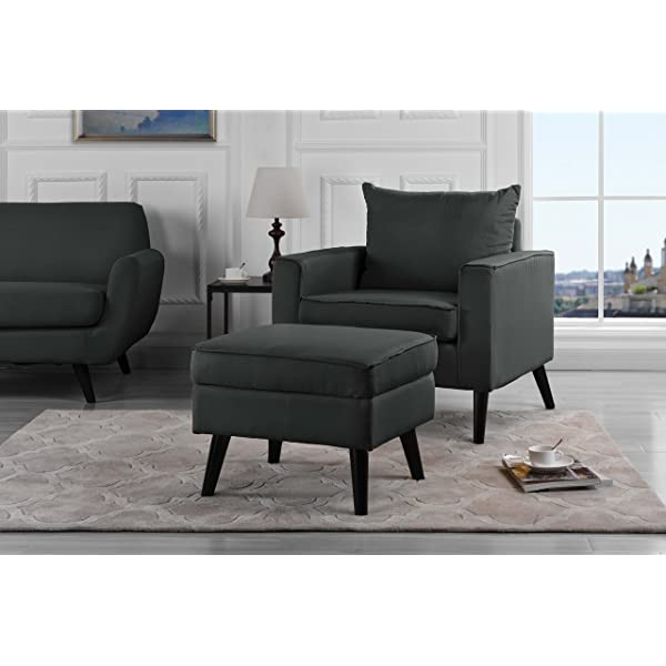 Mid-Century Modern Living Room Large Accent Chair with Footrest/Storage Ottoman (Grey)
