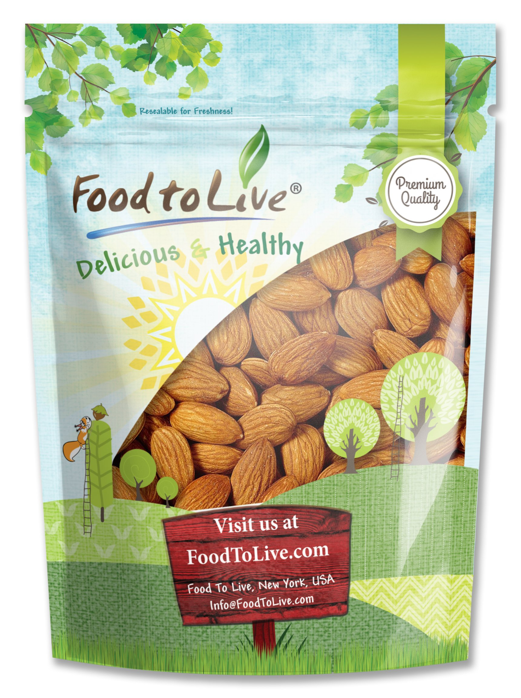Raw Almonds By Food to Live (Whole, Shelled, Unsalted, Bulk, Kosher) — 8 Ounces