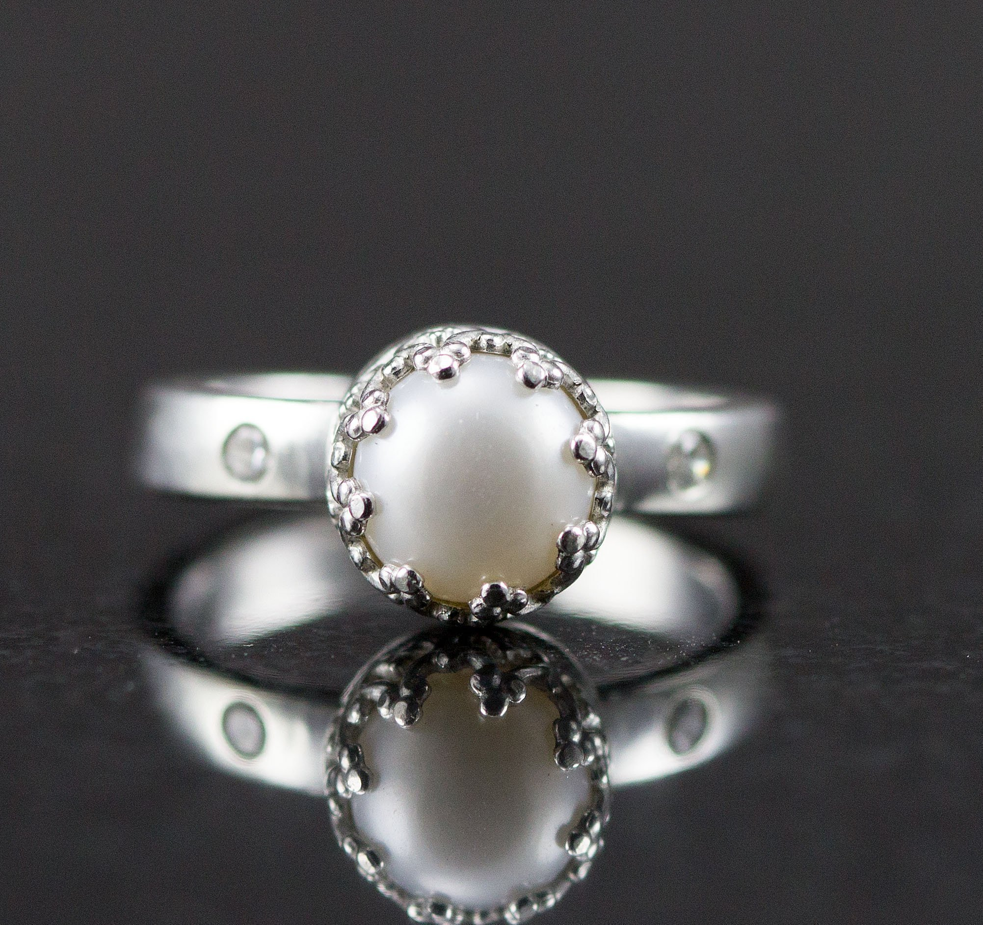 Sterling Pearl and Diamond Engagement Ring - Genuine Diamond or Moissanite Accents