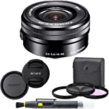 Sony SELP1650 16-50mm Power Zoom Lens (Black) + 7PC Kit Includes 3 Piece Filter Kit (UV-CPL-FLD) + Front & Rear Lens…