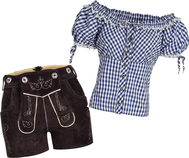 Damen Trachtenset Lederhose Shorts schwarz kurz Träger Trachtenbluse Carmen