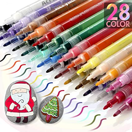 OUSI 20 Paint Markers for Kids Adults Paint Pens for Rocks Painting Canvas Photo Album DIY Craft School Project Glass Ceramic Wood Metal Water Based Extra Fine Tip Acrylic Paint Marker Pens