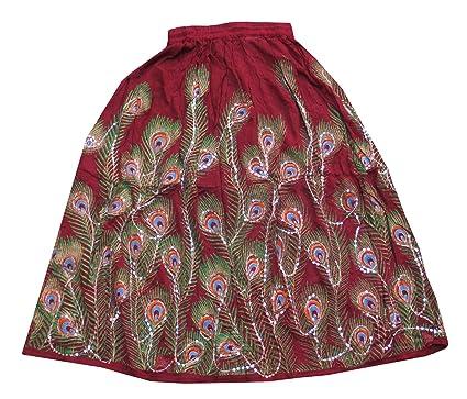 cc8133fc03 Marron Sequin Work Handmade Women's Skirt, Indian Belly Dance Skirt ...