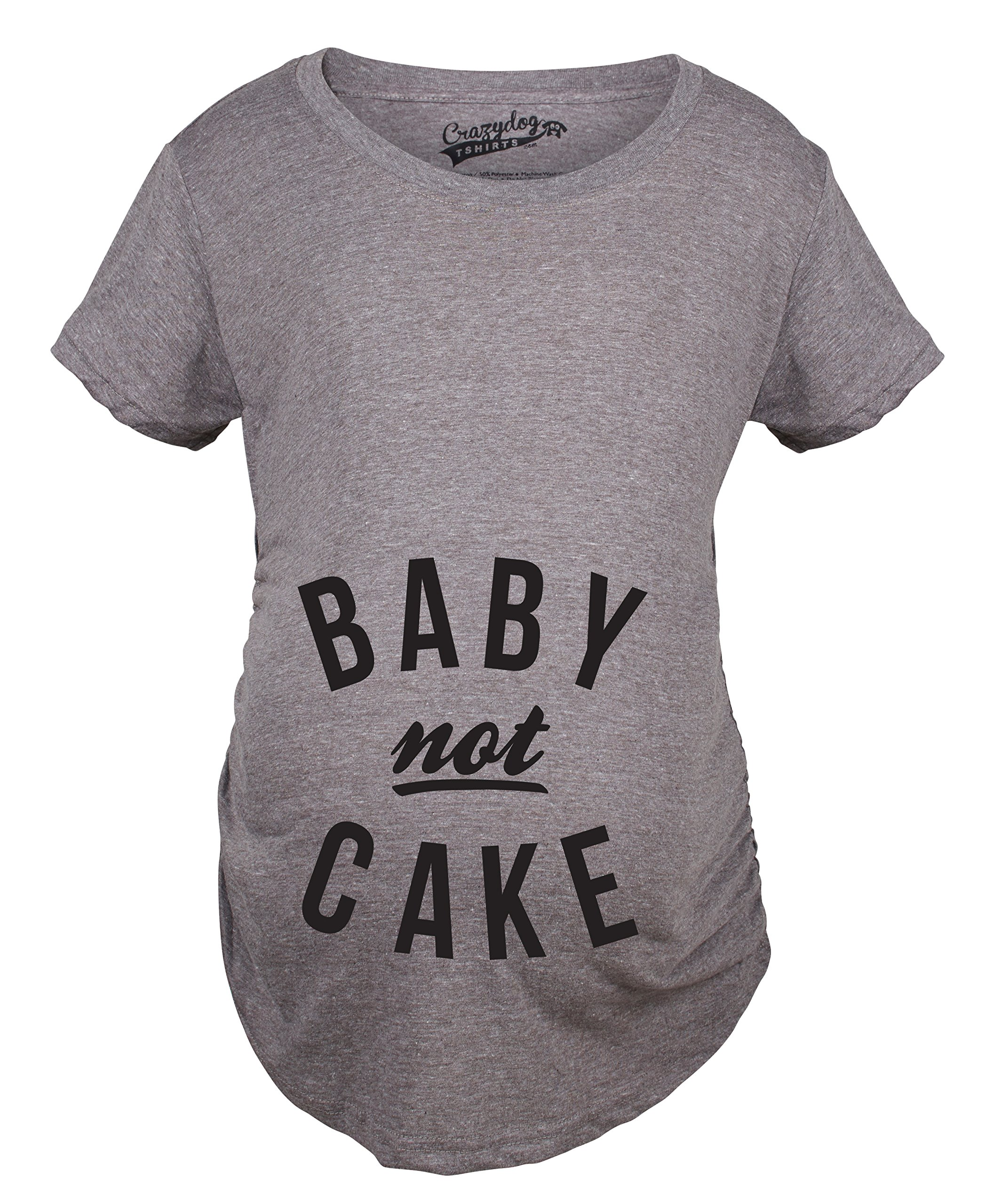 Maternity Baby Not Cake Funny Pregnancy Tees for Pregnant Announcement Funny T Shirt (Grey) -M