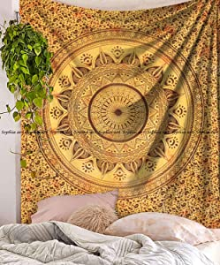 """Sophia-Art Indian Mandala Hippie Tapestries Wall Hanging Unique Indian Tapestry Hippy Mandala Beautiful Handmade Bedspread Wall Decor Queen Tapestry (Yellow Trident, 86"""" x 94"""")"""
