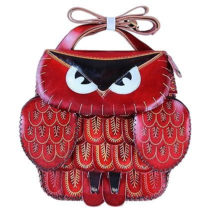 Tamaño grande rojo diseño de búho Funda tipo monedero de ...