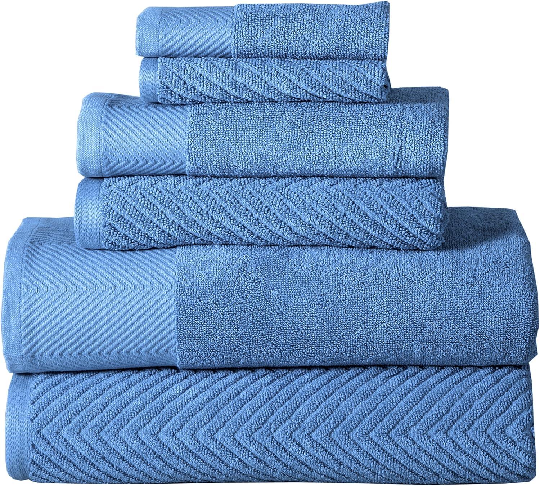 Affinity Home Collection HB-CE6PCTST-SBL Sea Blue Towel Set