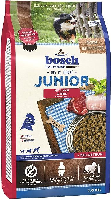 Bosch HPC Junior con cordero y arroz   Alimento seco para perros para criar cachorros nutricionalmente sensibles, 1 x 1 kg