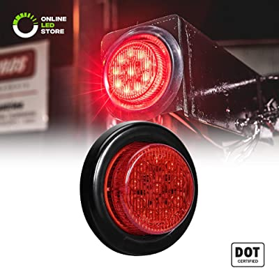 """2"""" Round 10 LED Light [2 in 1 Reflector] [Polycarbonate Reflector] [10 LEDs] [D.O.T. Certified] [2 Year Warranty] Side Marker Light for Trucks and Trailers - Red: Automotive"""