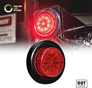 2 Year Warranty 10 LEDs Side Marker Light for Trucks and Trailers Polycarbonate Reflector D.O.T. Certified 8PC 2 Round 10 LED Light 2 in 1 Reflector Red