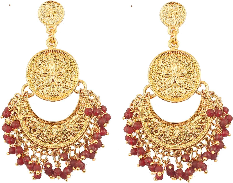 Touchstone Bonitos flecos y tema floral étnico del sur de la india chandbali luna nupcial pendientes de araña de joyería de diseño para mujer