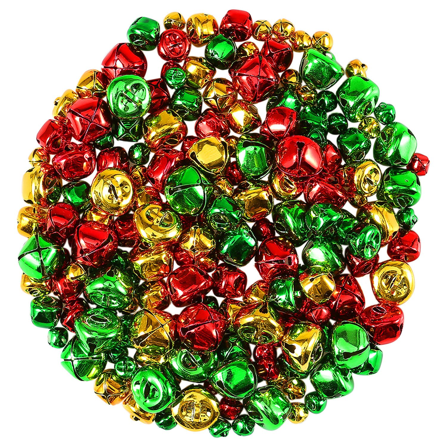 Coobey Christmas Jingle Bells Small Bells Bulk Loose Beads Charms for Christmas Supplies Decoration, 3 Types (300)