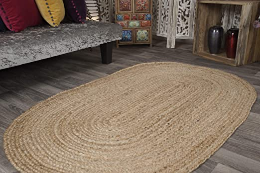Large trenzado Oval alfombra de trapo yute & algodón multicolor ...