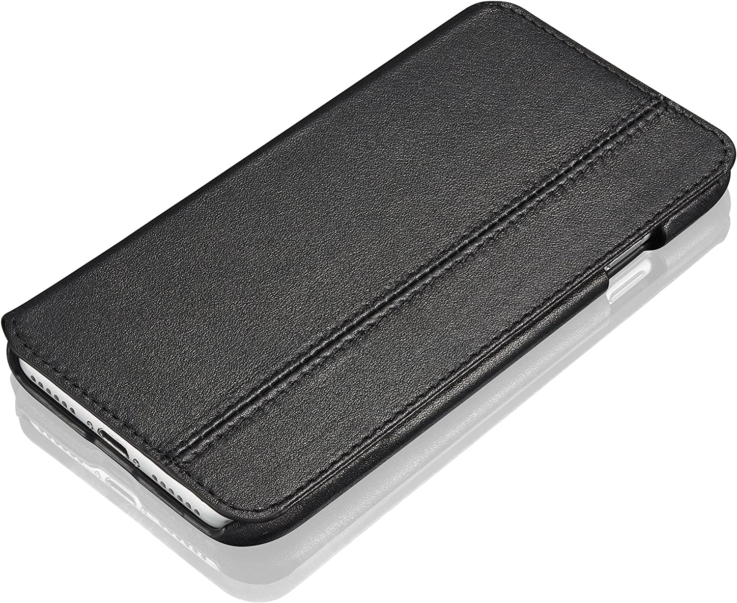 """KAVAJ Case Compatible with Apple iPhone SE (2020), 8, 7 4.7"""" Leather - Dallas - Black Wallet Folio Cover with Card Holder"""