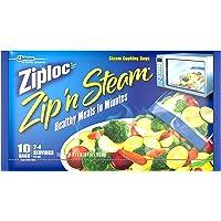 """Ziploc Zip 'N Steam Cooking Bags Medium 10 Bags, 7 1/4"""" X 8"""" each (Pack of 3)"""