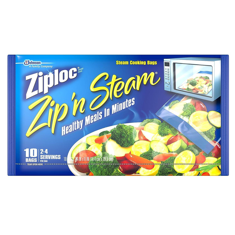 Ziploc Zip'N Steam Cooking Bags, Medium, 10-Count(Pack of 12)