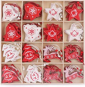 48 Wooden Christmas Tree Decorations - Stars, Reindeer, Christmas Trees & Bells - Red &White Wooden Christmas Tree Ornament Set