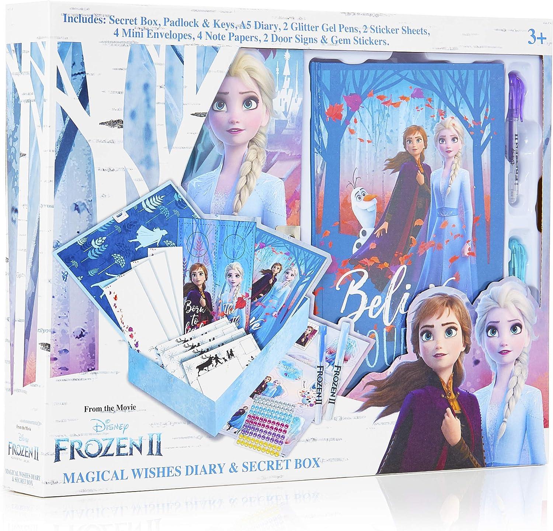 Disney Frozen 2 Diario Secreto Niña con Candado, Caja Sorpresa con Accesorios de Regalo Pegatinas, Princesas Disney Elsa Anna El Reino del Hielo, Regalos para Niñas Cumpleaños Navidad