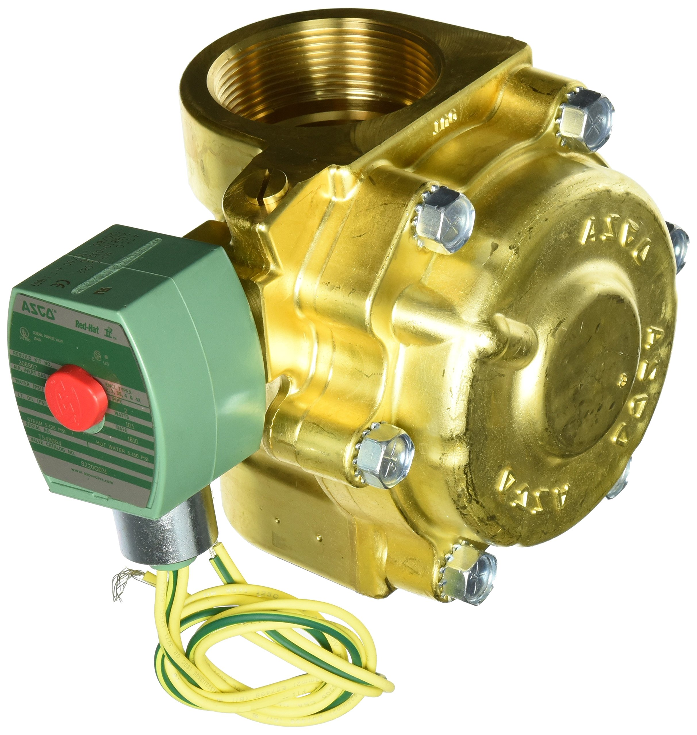 ASCO 8220G031 -120/60,110/50 Brass Body Hot Water and Steam Pilot Operated Diaphragm and Piston Valve, 2'' Pipe Size, 2-Way Normally Closed, PTFE Sealing, 1-3/4'' Orifice, 43 Cv Flow 120V/60 Hz, 110V/50